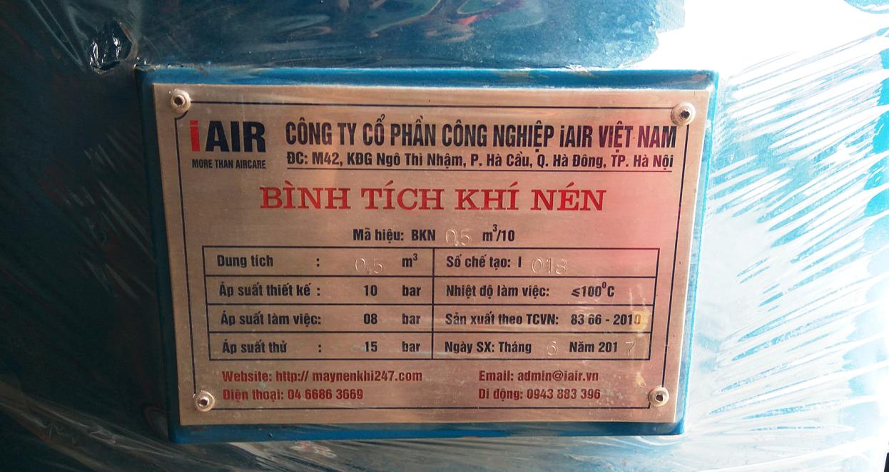 Thông số bình nén khí 500 lít